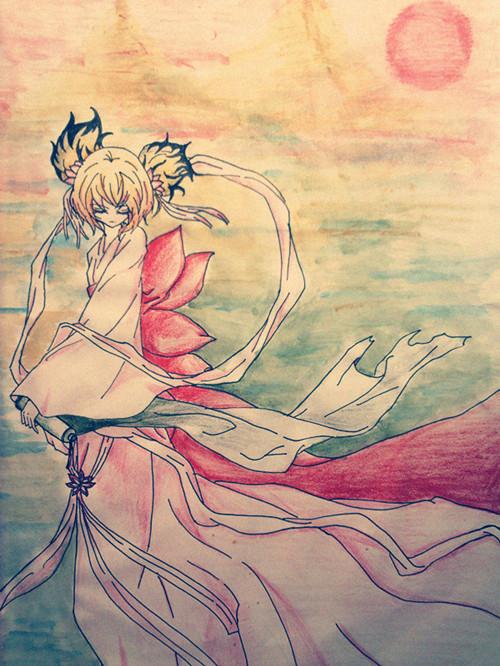 火凤公主小可爱奥比岛板绘秀作品--狐仙仙